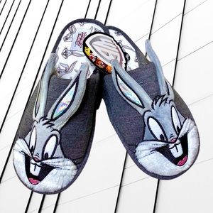 BUGS Bunny Gray Padded Furry Slippers Looney Tunes